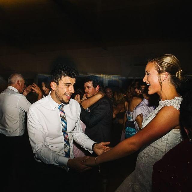 Dancing to DJ at wedding